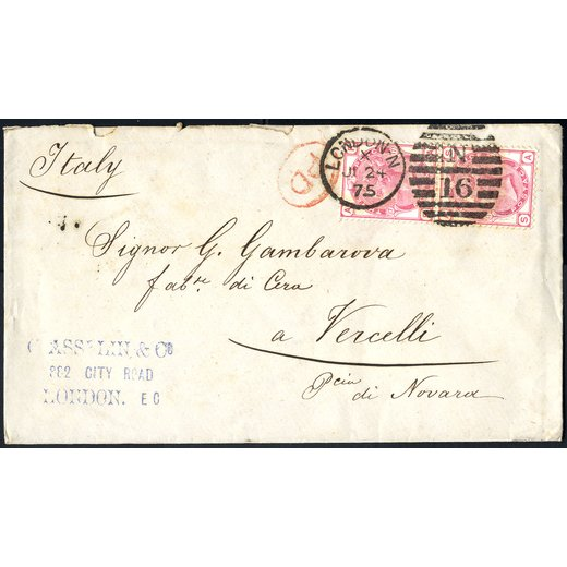 1875, letter from London 24.6.1875 to Vercelli with pair 3 d. Queen Victoria, plate 17 SG 144 / 185,-