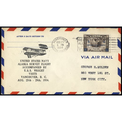 1934, air mailed letter from Vancouver 25.8.34 to New York, SG 318 / 40,-