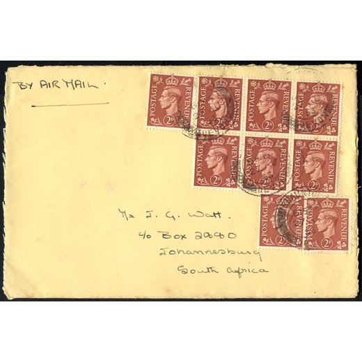 1953, air mailed letter to Johannisburg with SG 506 block of 6 and three