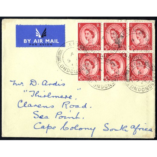 1952, FDC air mailed to Cap Colony with block of six 2 1/2 d.,