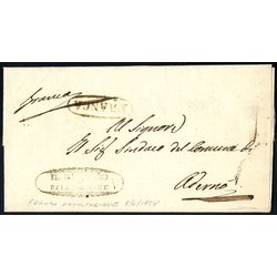1858, Lettera in franchigia da Caltagirone 8.4.1858 per...
