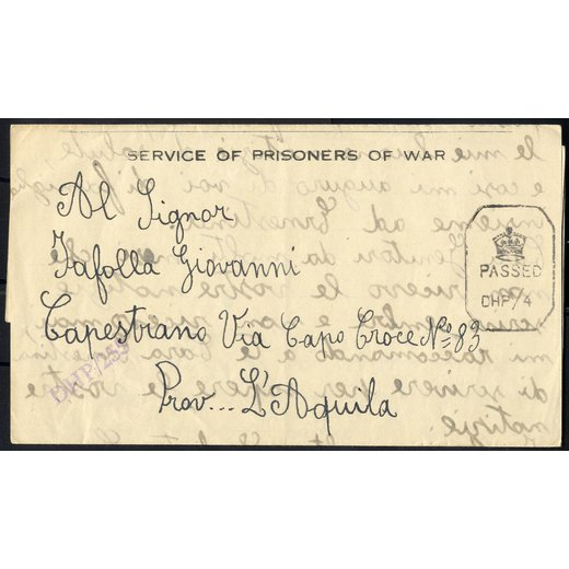 1944, Prigionieri di guerra, lettera del 25.8.1944 di un soldato italiano internato a Bombay in India, censura
