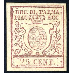 1857/59, 25 Cent. bruno lilla, firm. Cardillo (S. 10 /...