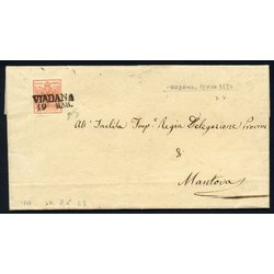 VIADANA / 19 MAR 1850, annullo SD su 15 Cent., carta a...