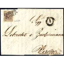1851, Carta costolata, 30 Cent. bruno su lettera da...