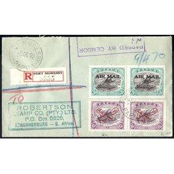 1939, registred letter from Port Moresby 5.12.39 to...