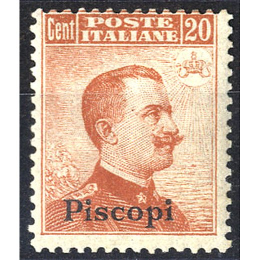 1917, Piscopi, 20 Cent. arancio, senza filigrana (S. 9 / 140,-)