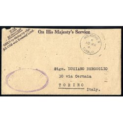 1947, lettera On His Majesty´s Service da Mogadishu il...
